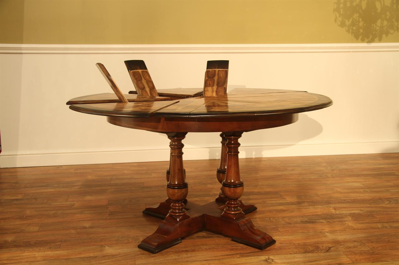 Small Walnut Jupe Table 45 To 56 Inch Round To Round Dining Table