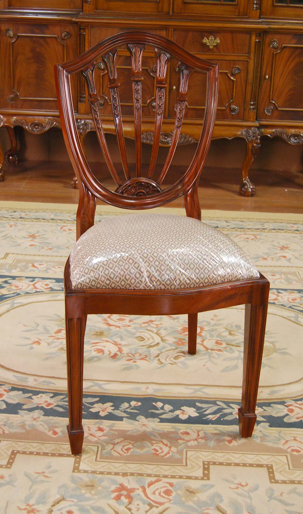 Mahogany dining room chairs carved shield back chairs ebay for Mahogany dining room chairs