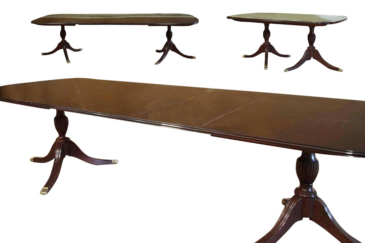American Made Solid Mahogany Double Pedestal Table