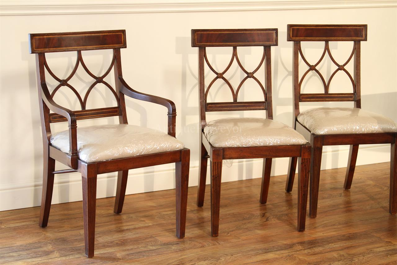Dark Mahogany Finished Chairs Shown With Table