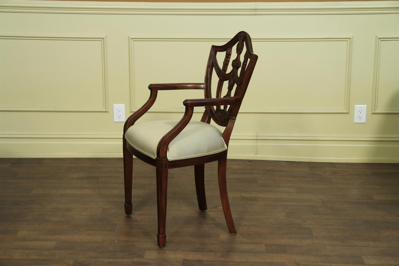 Solid Mahogany Shield Back Dining Room Chairs