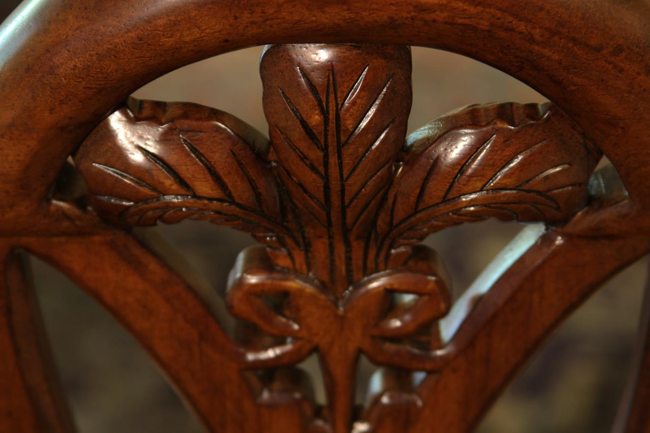 Mahogany Sweet Heart Shield Back Dining Chairs