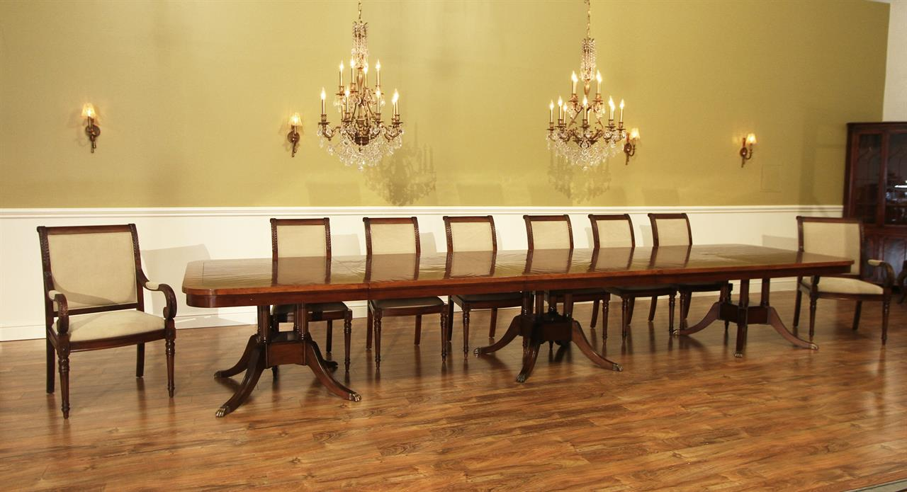 16 Foot Solid Walnut And Mahogany Dining Room Table