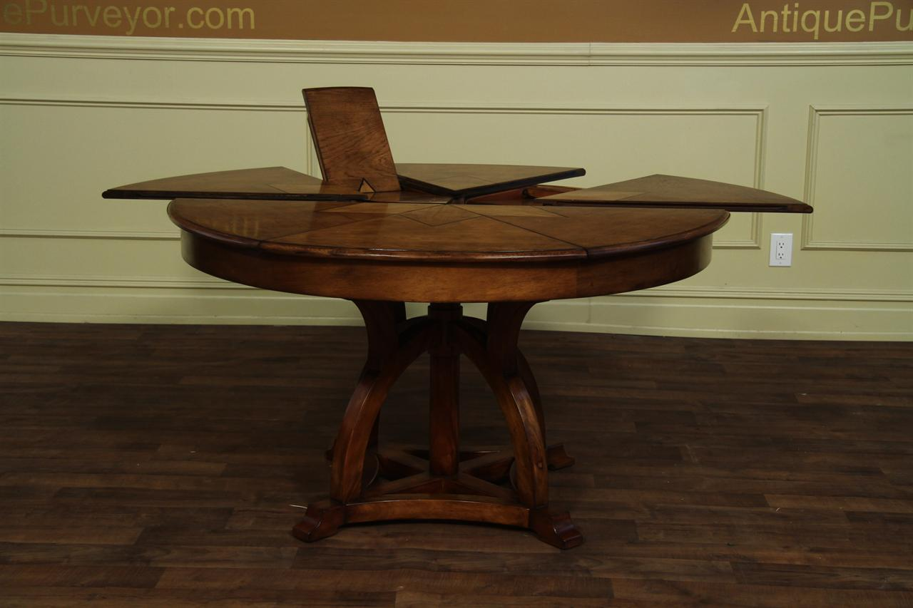 Solid walnut round arts and crafts expandable dining room for Expandable dining table