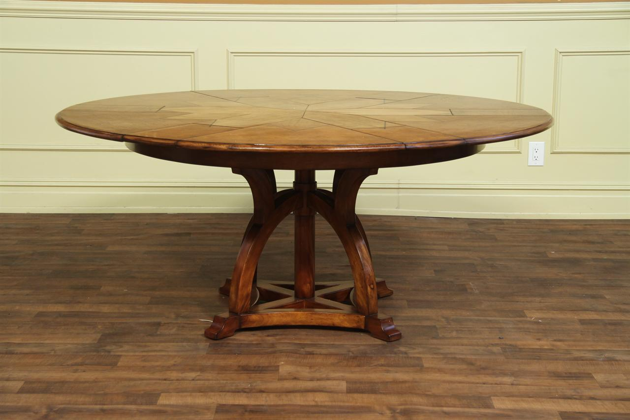 Solid Walnut Arts And Craft Expandable Round Table With White Oak Veneer