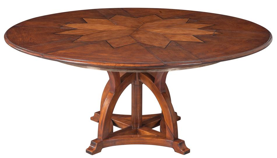 Arts and Crafts expandable table with self storing leaves and star pattern. Solid Walnut Round Arts and Crafts Expandable Dining Room Table