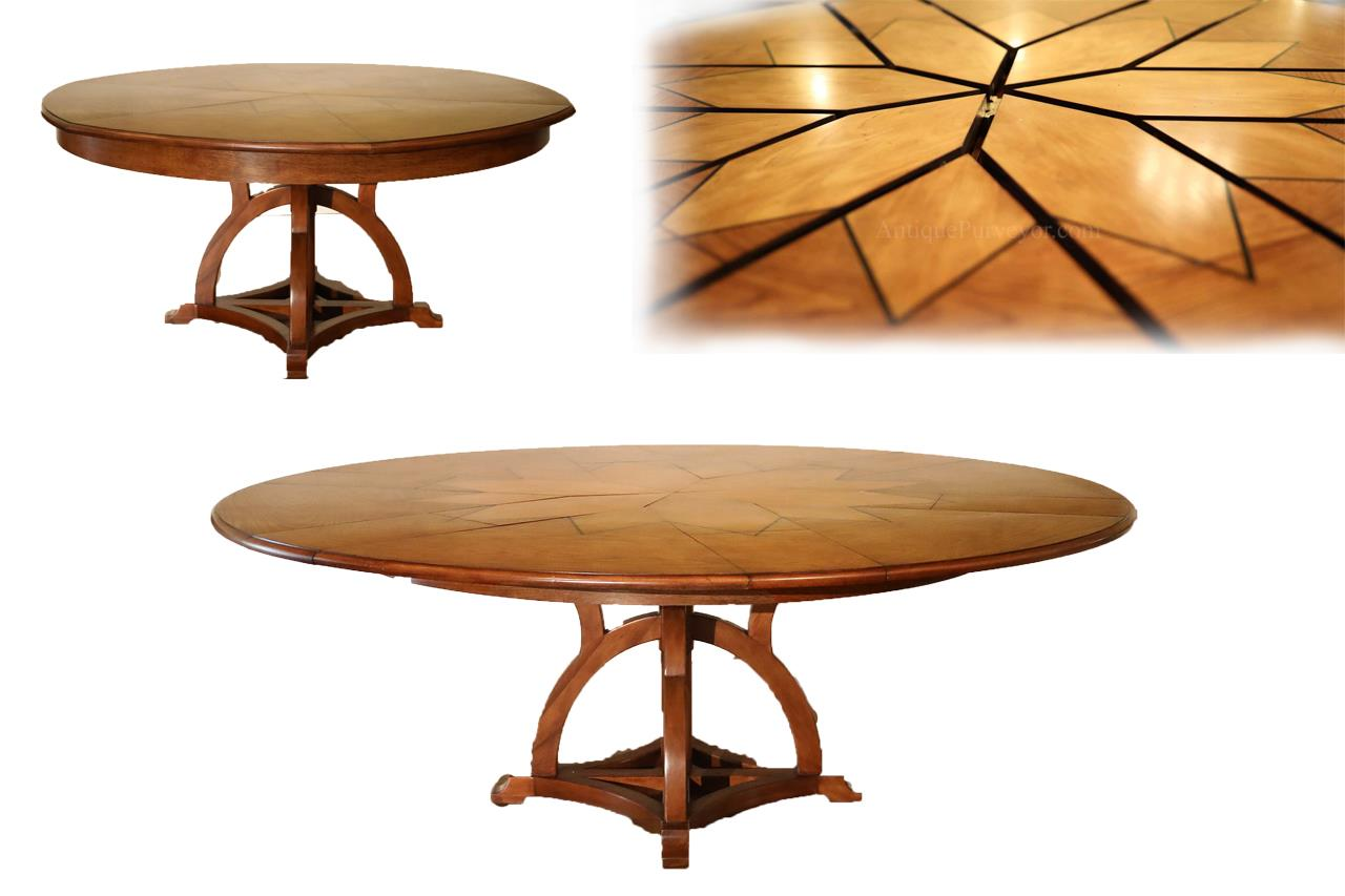 solid walnut round arts and crafts expandable dining room table. Black Bedroom Furniture Sets. Home Design Ideas