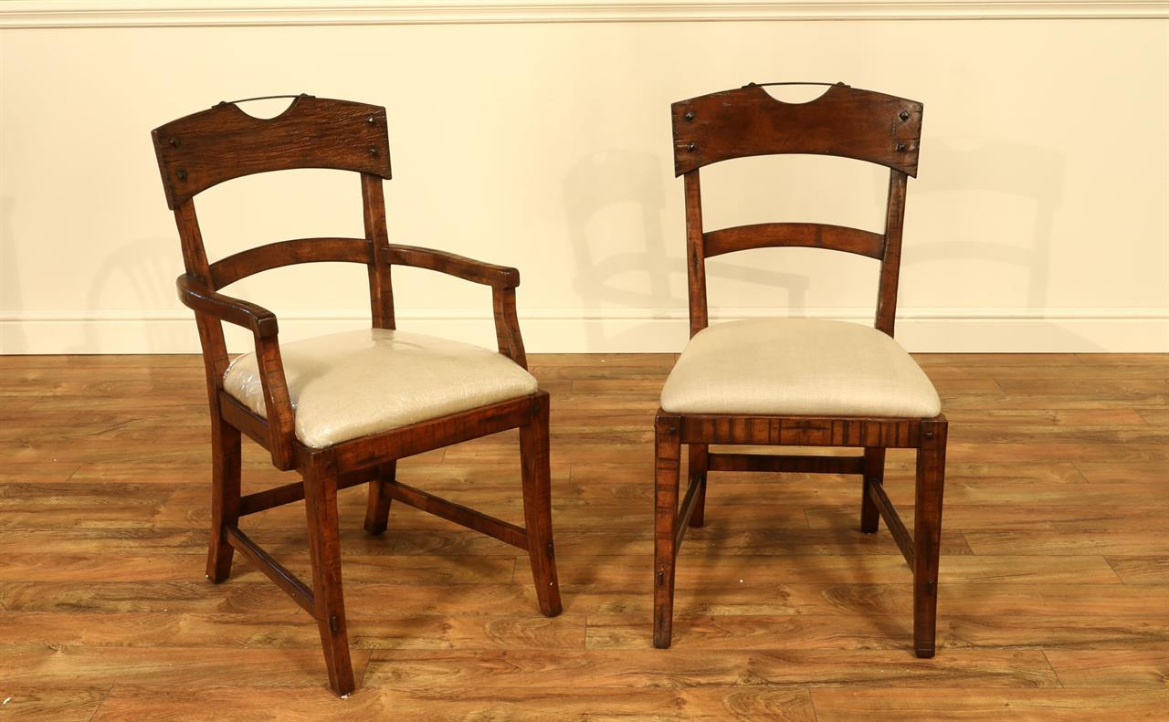Solid Walnut Dining Room Chairs with Hammer Iron Crest Handles