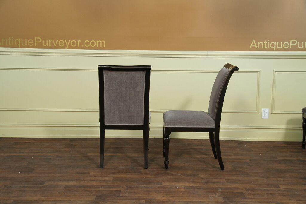 6 solid walnut high quality ebony dining chairs with grey for Best quality dining room furniture
