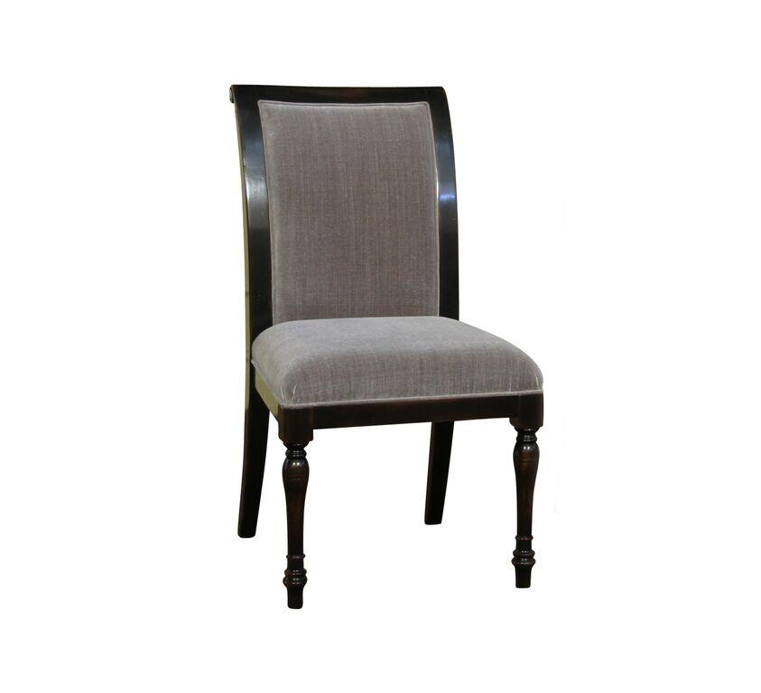 Quality Dining Chairs: 6 Solid Walnut, High Quality Ebony Dining Chairs With Grey