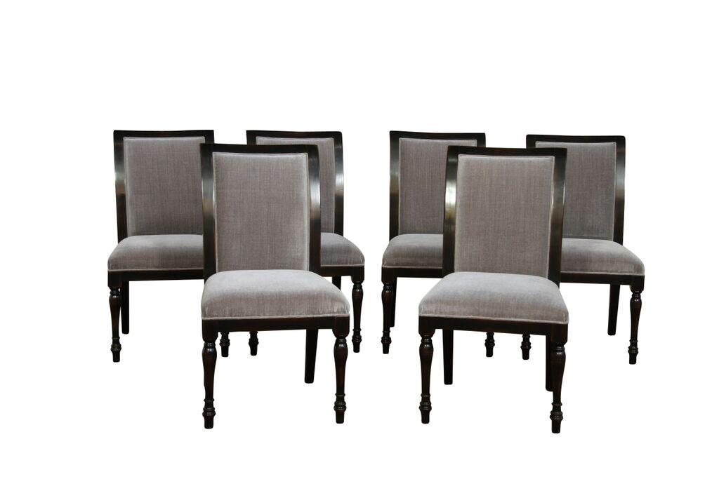 6 Solid Walnut High Quality Ebony Dining Chairs With Grey Upholstery