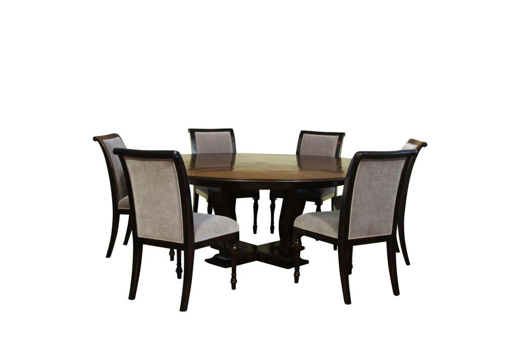 6 high quality solid walnut ebony dining chairs grey for Best quality upholstered furniture