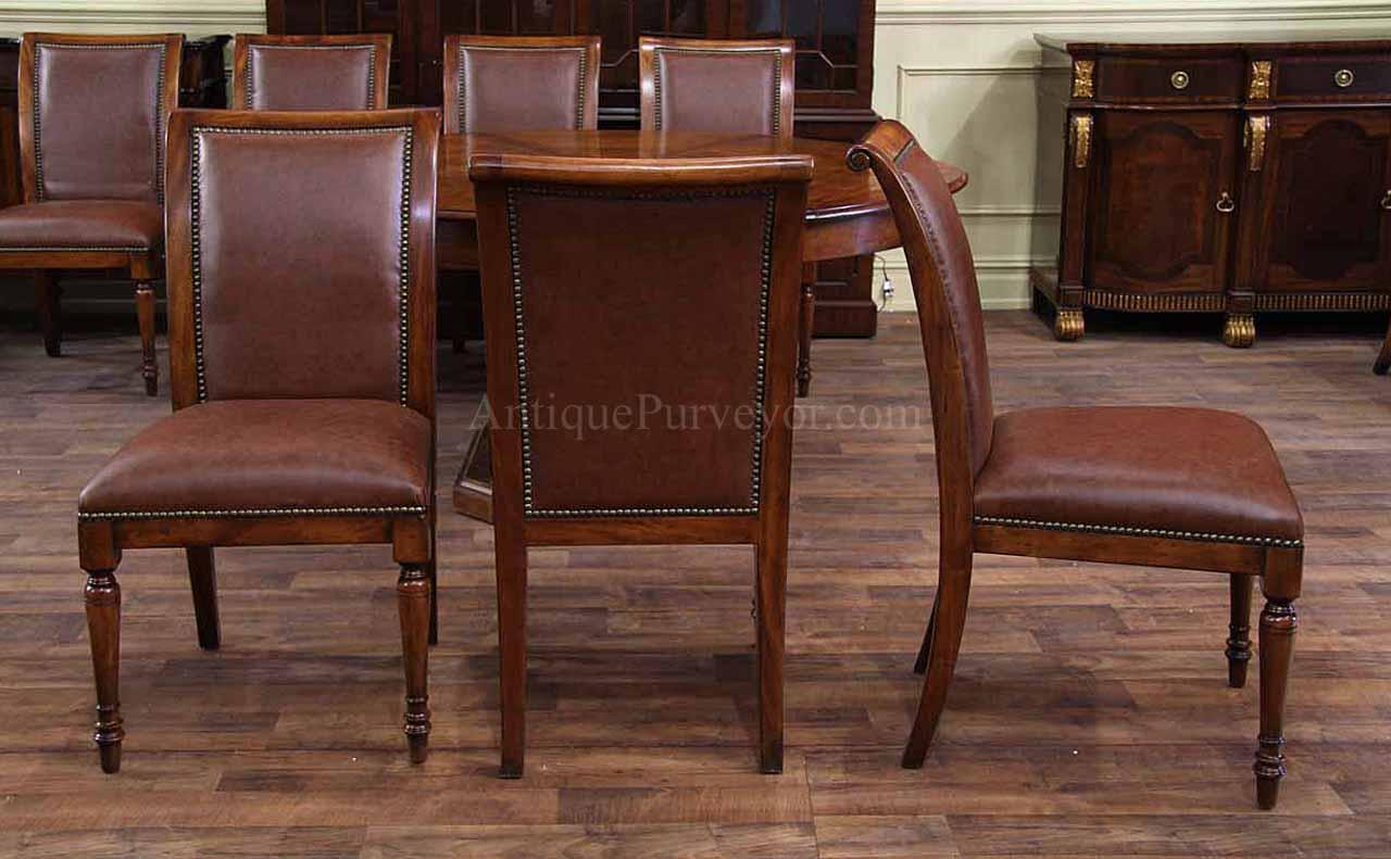 Leather Upholstered Regency Style Dining Chairs Brass Nail Trim. Full resolution‎  snapshot, nominally Width 1280 Height 791 pixels, snapshot with #381D16.