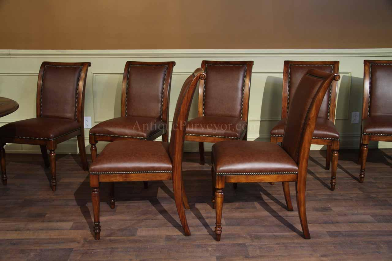 Solid Walnut Leather Upholstered Regency Style Dining ...