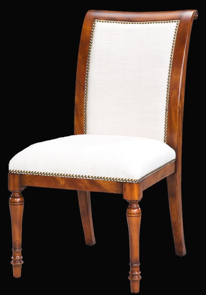 Solid Walnut Leather Upholstered Dining Chairs With Brass