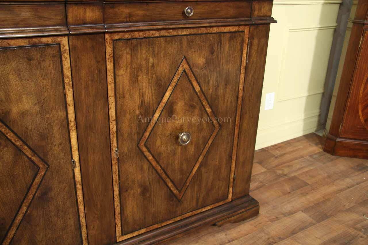 Solid walnut sideboard with chestnut inlays rustic style