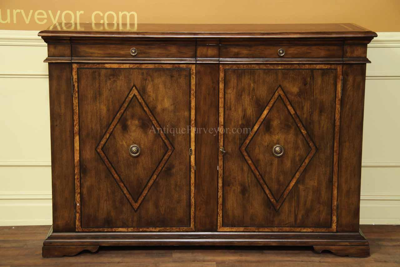 Solid Walnut Buffet ~ Solid walnut sideboard with chestnut inlays rustic style