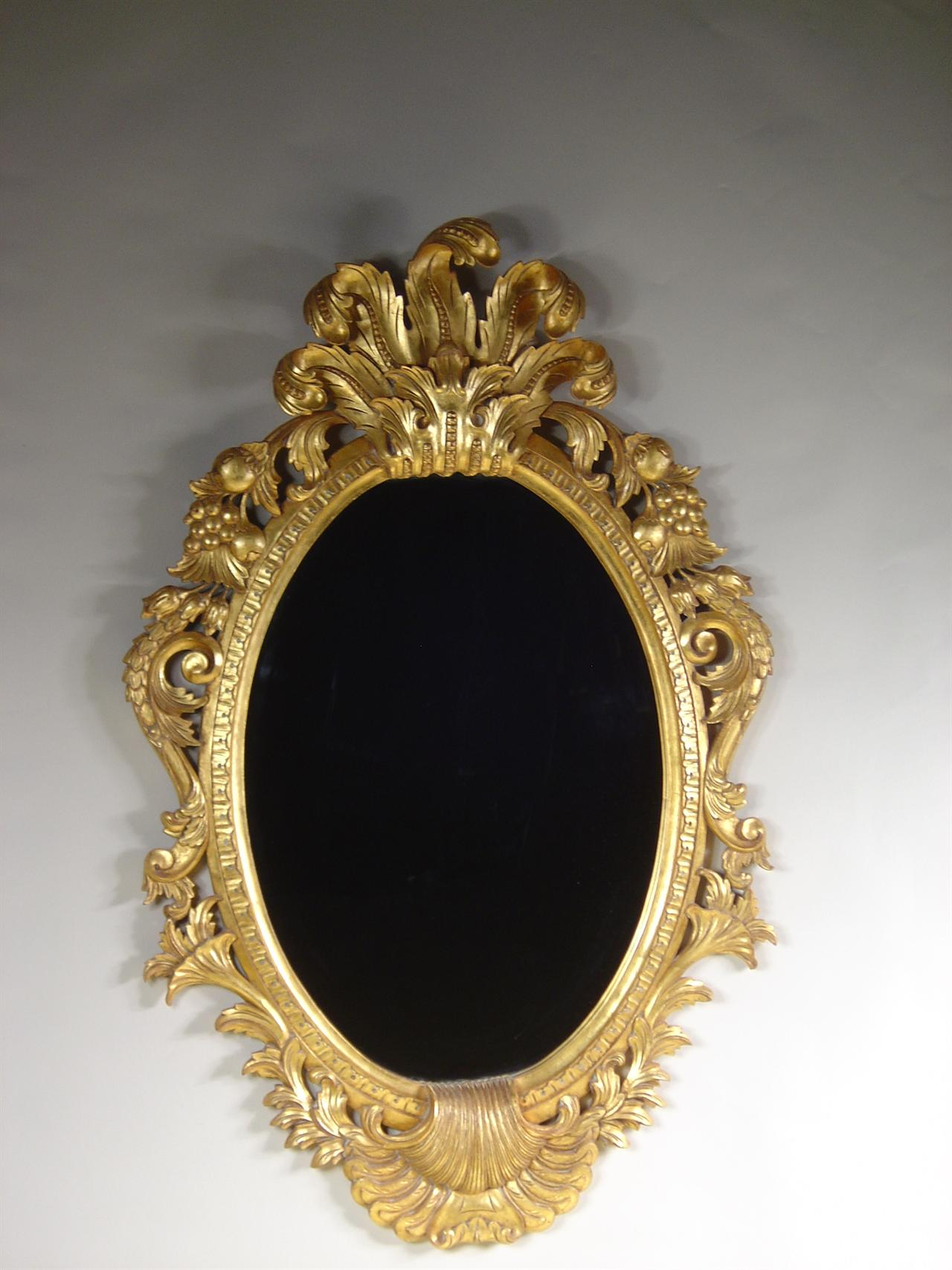 Solid Mahogany Mirror With Gold Leaf Hand Carved Beveled