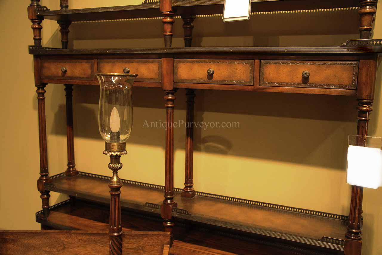 Solid Wood Narrow Console Table with Leather Panels