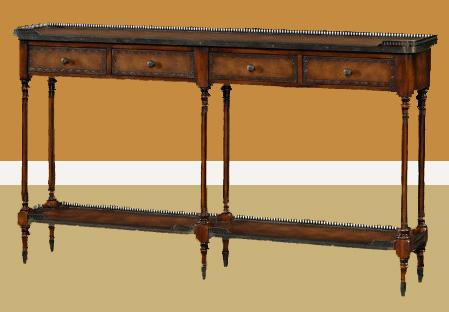 Narrow Leather Louis XVI Console Table