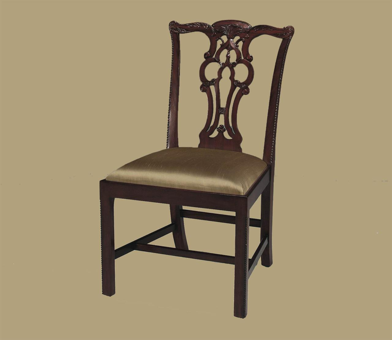 Mahogany Straight Leg Chippendale Chairs Formal Dining Chairs