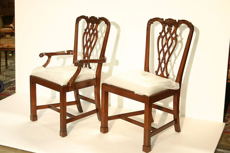 Straight leg Chippendale chairs with fluted legs : chippendale chairs reproduction - Cheerinfomania.Com