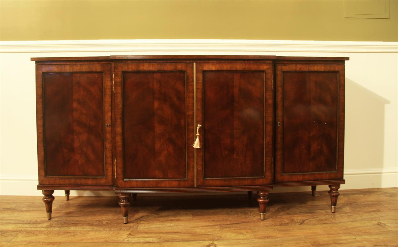 Swirl Mahogany Sideboard or Credenza. Regency Style Turned Leg
