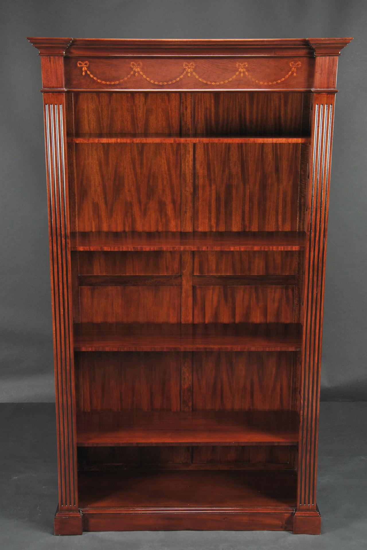 Open And Inlaid Mahogany Bookcase