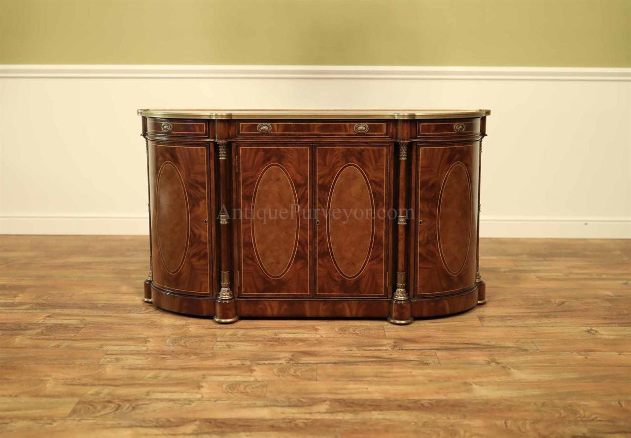 Traditional Mahogany And Walnut Bowfront Sideboard