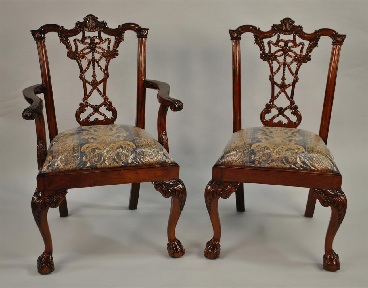 Thomas Chippendale Nostell Priory Dining Chairs - Chippendal Mahogany Dining Chairs, Antique Style High End Chairs