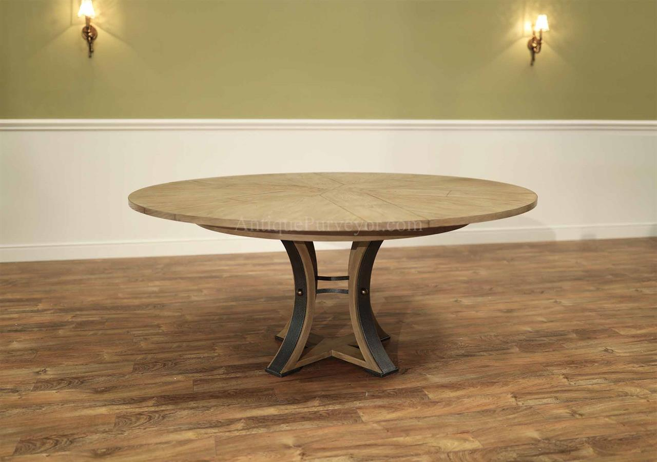 Modern Jupe Table with Iron Hammered Tower Pedestal