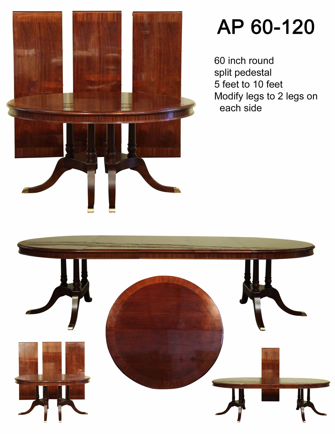 Large traditional round mahogany dining table for 6 to 12 for Dining room tables 120 inches