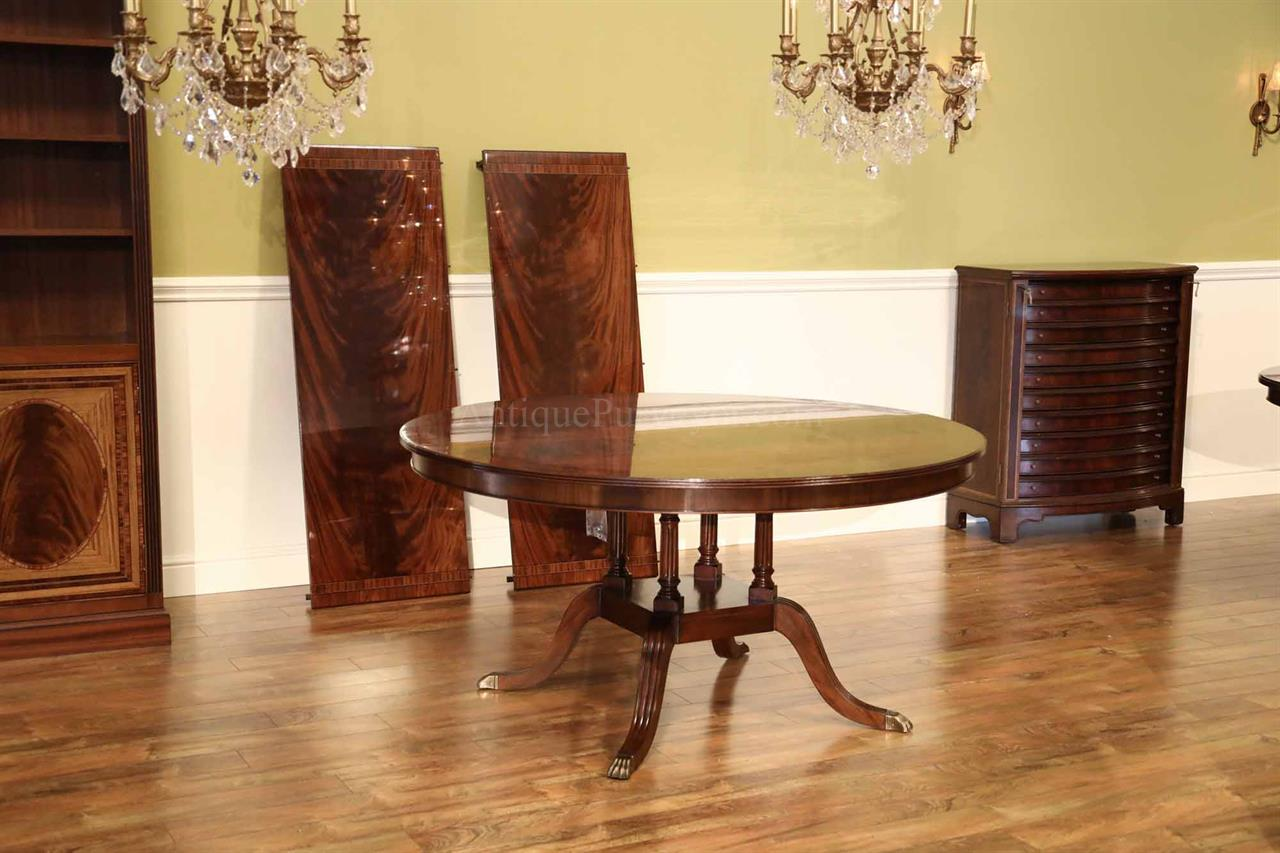 Traditional 60 Inch Round To Oval Pedestal Table For Seating 4 10