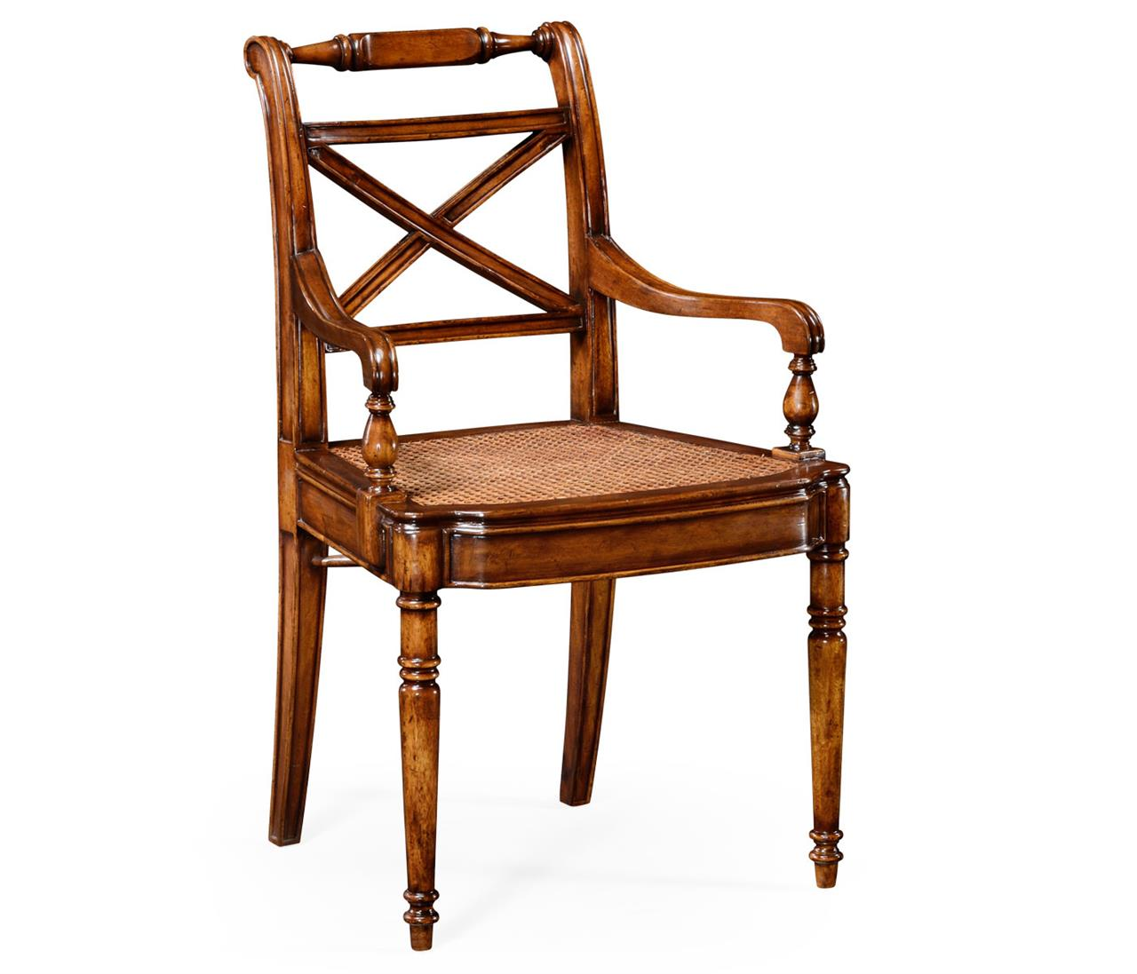 Solid Walnut Antique Reproduction Cane Seat Dining Chair