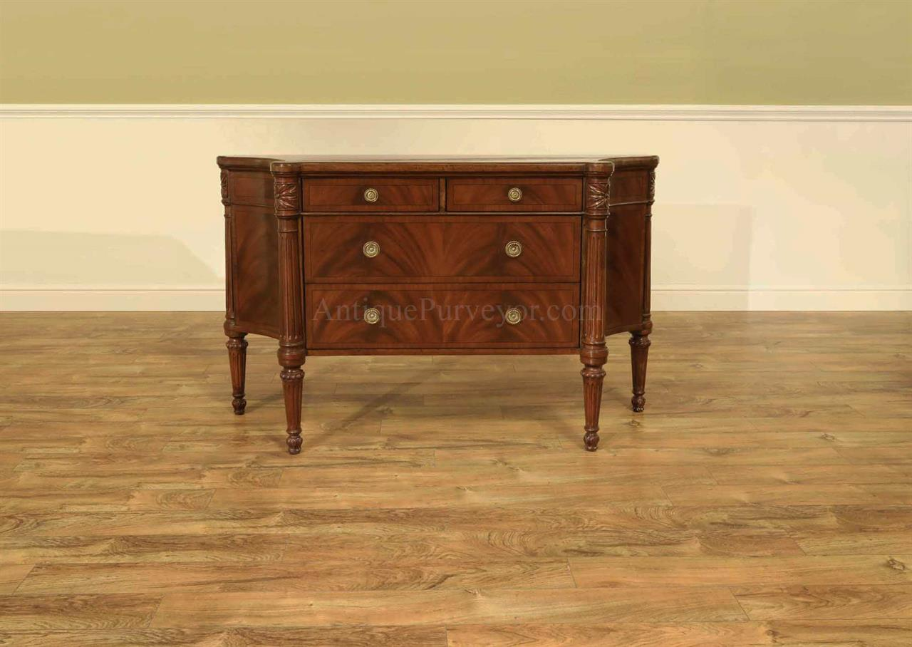 Mahogany Serpentine Commode Sideboard With Carved Posts
