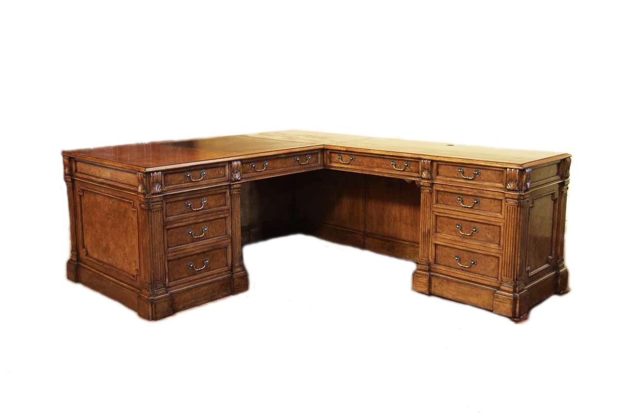 Traditional Walnut Return Desk With Leather Top