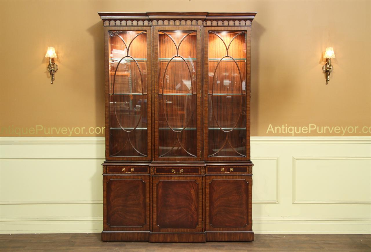 Traditional Banded And Fan Inlaid Mahogany China Cabinet With Three Gl Doors