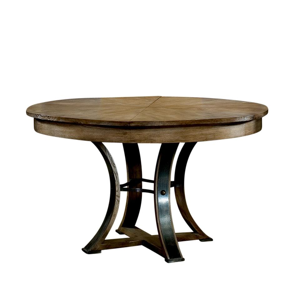 Transitional gray oak round jupe table with self storing for Table with that left