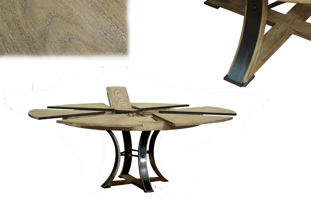 Round To Round Transitional Gray Oak Jupe Table With Leaves - Round farm table with leaf