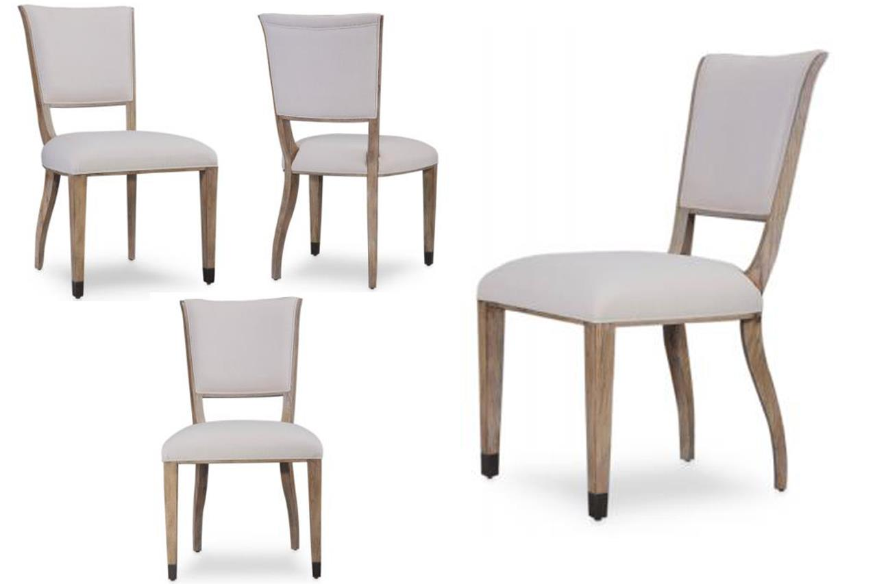 Transitional Grey Finished Upholstered Side Chairs