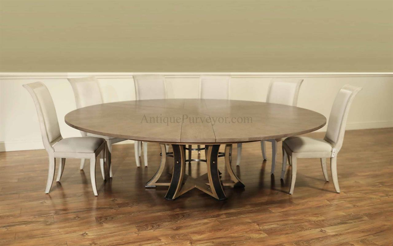 Transitional Jupe Table For 12 People Round Expanding Dining