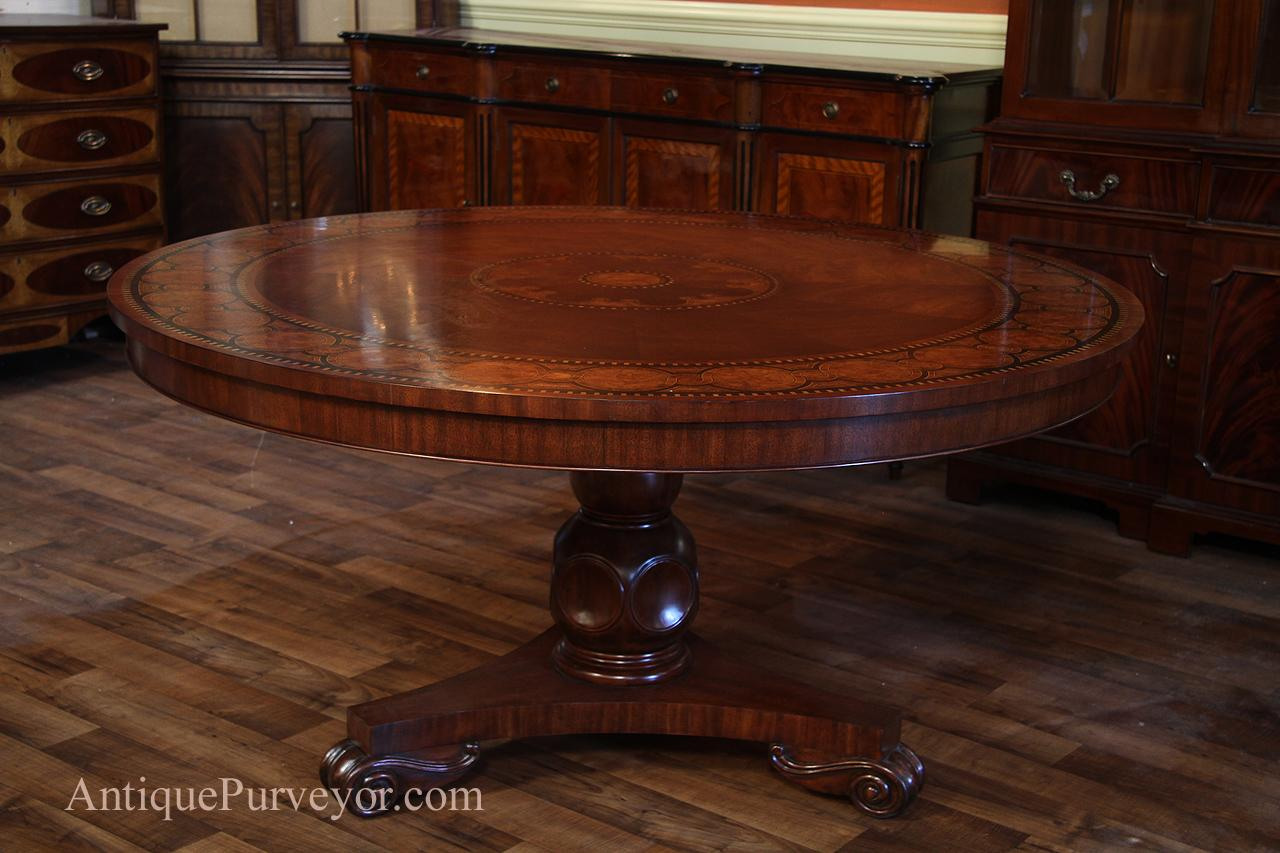 Transitional 60 inch Round Mahogany Dining Table - Inlaid