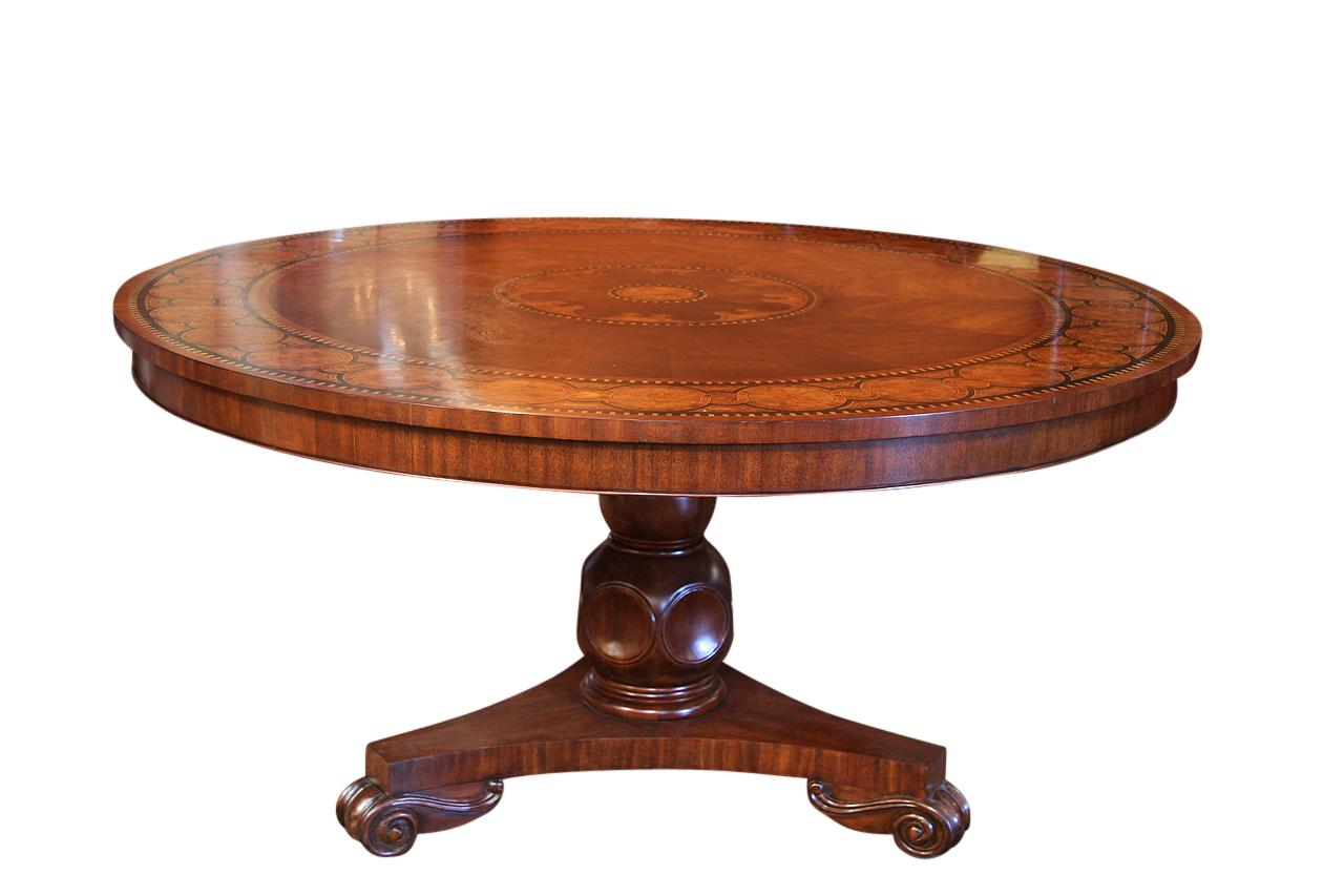 Transitional 60 inch round mahogany dining table inlaid for Large dark wood dining table