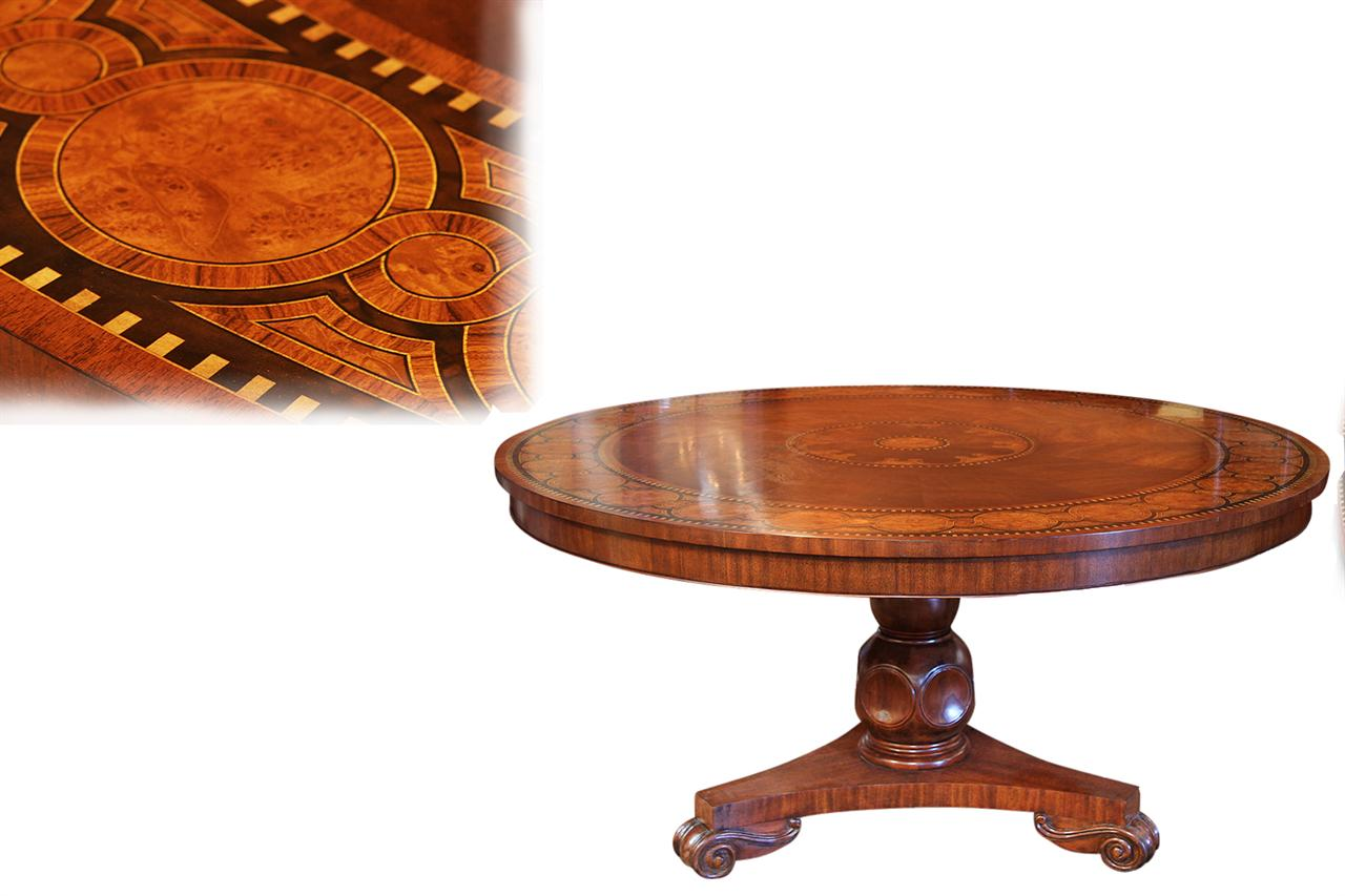 60 inch round mahogany dining table inlaid inla