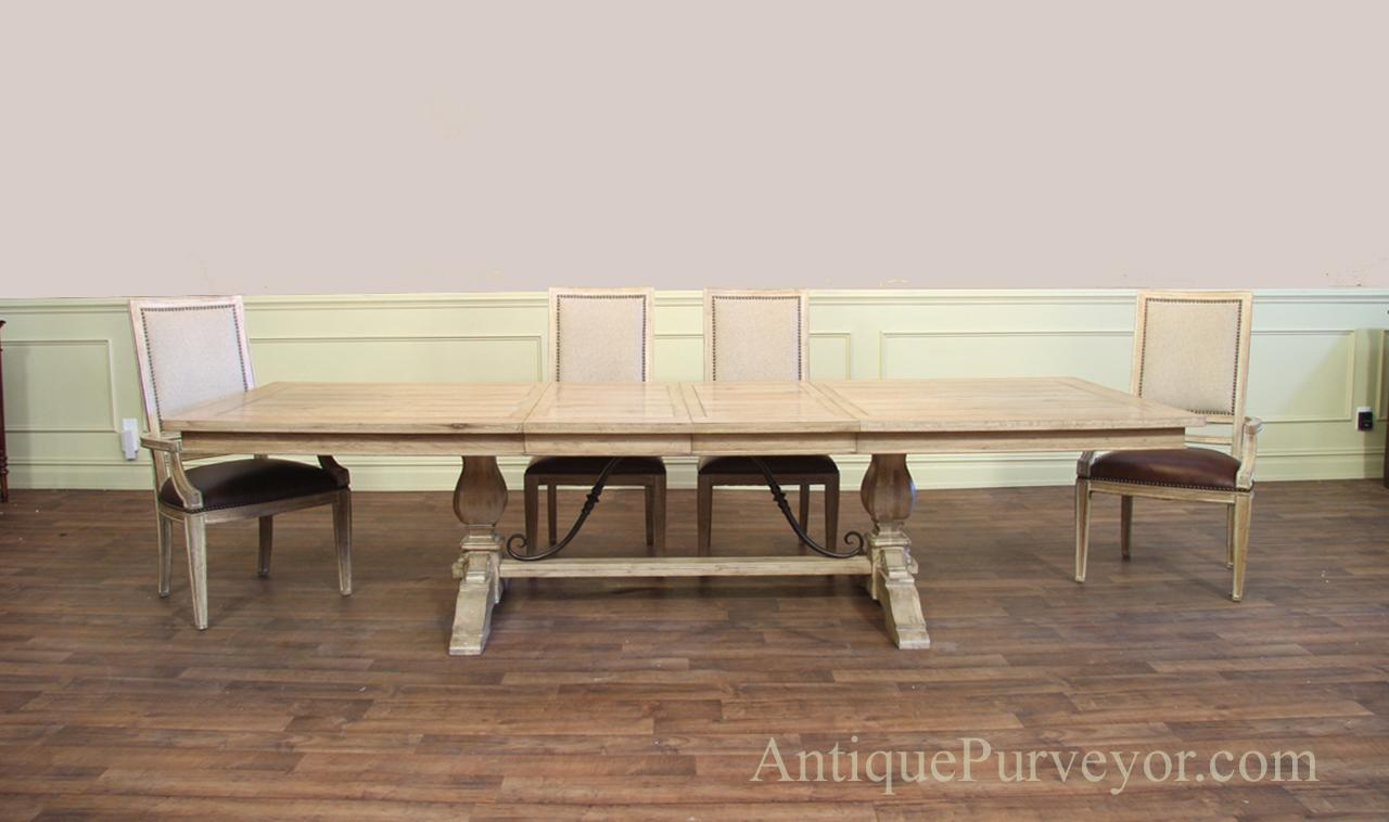 Transitional white trestle table with leaves for seating 8-12 people