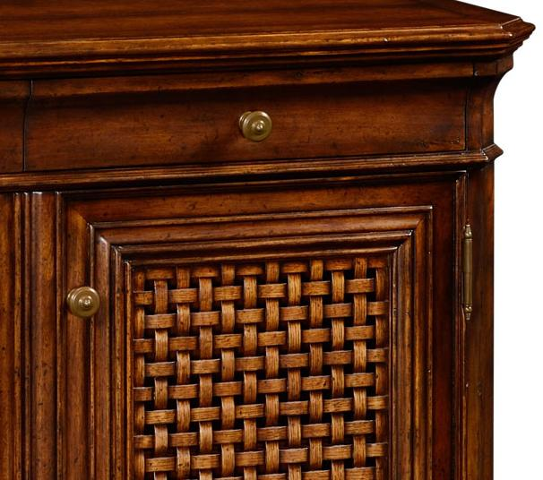 Tropical Walnut Buffet with Lattice Work Doors Casual, Rustic