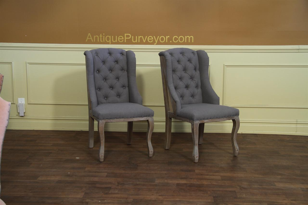 Tufted Wing Dining Chair With Distressed Frame And Nail Tacks
