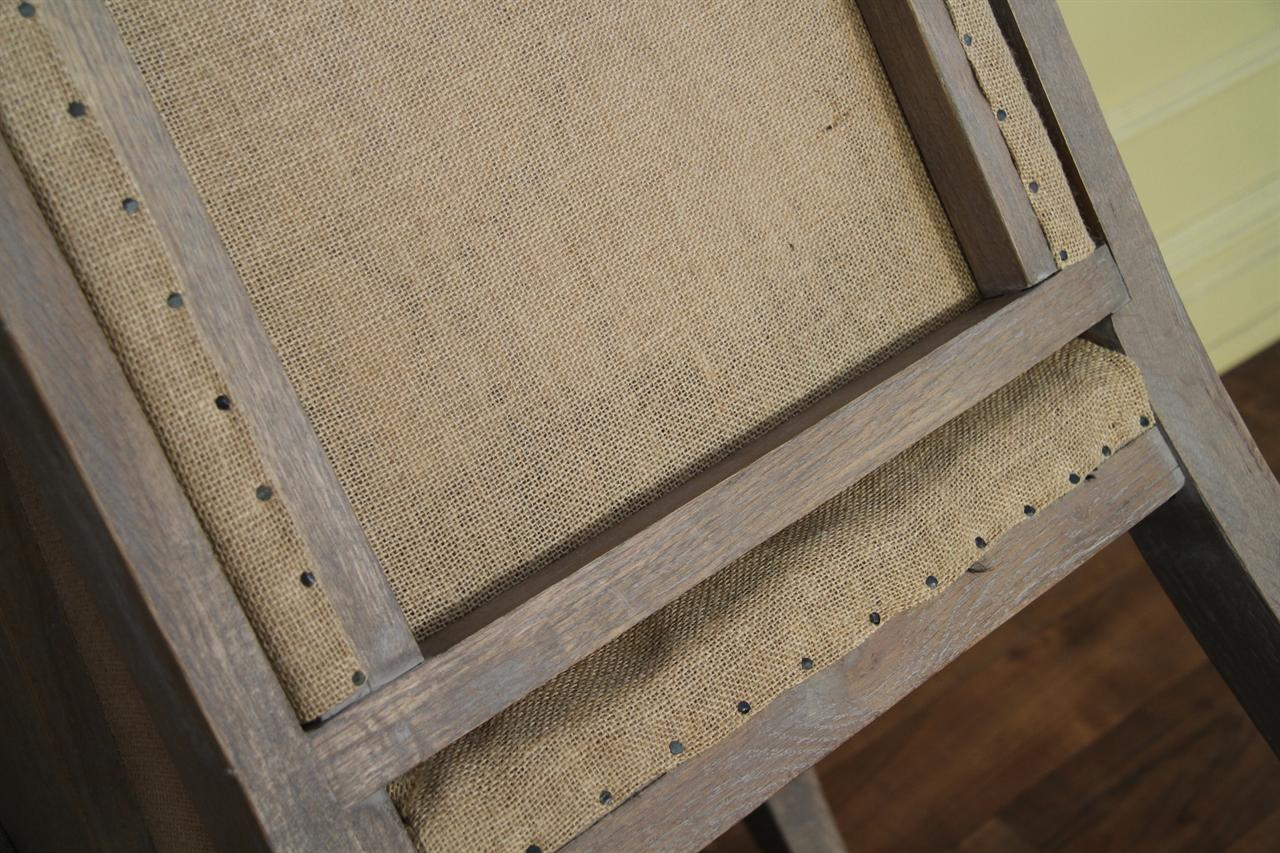Chair Back Is Burlap With Nail Tack Accents