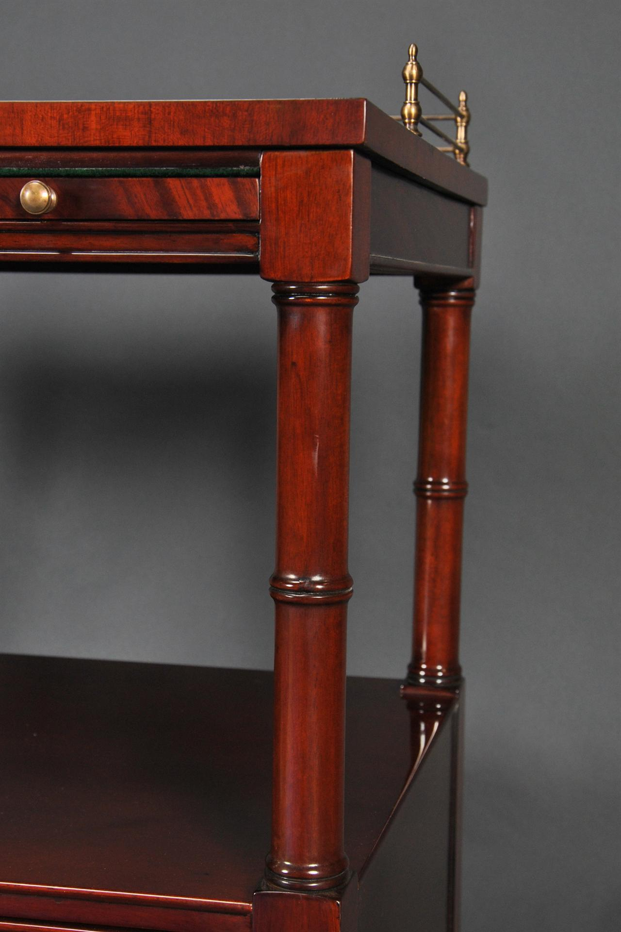 Two Tier Serving Trolley With Drawers And Brass Gallery