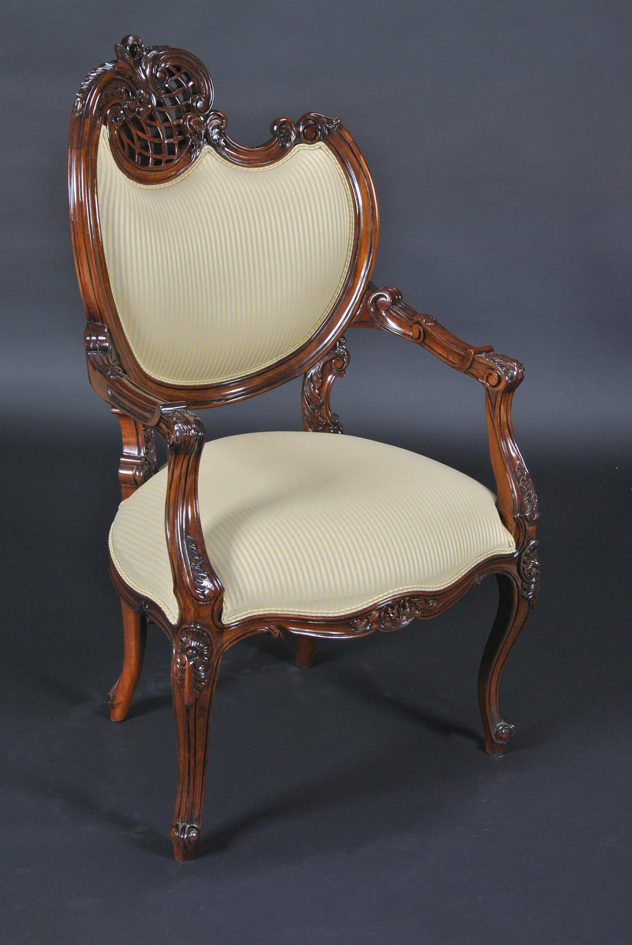 Upholstered Dining Chair, Pierced Carvings